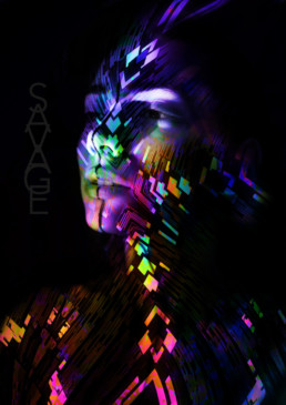 graphic design woman fluo indian